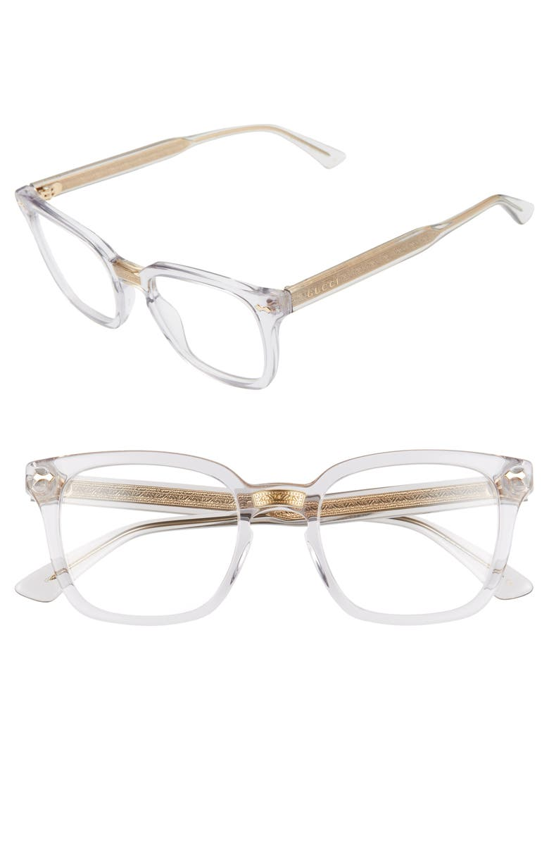 GUCCI 50mm Square Optical Glasses, Main, color, GREY
