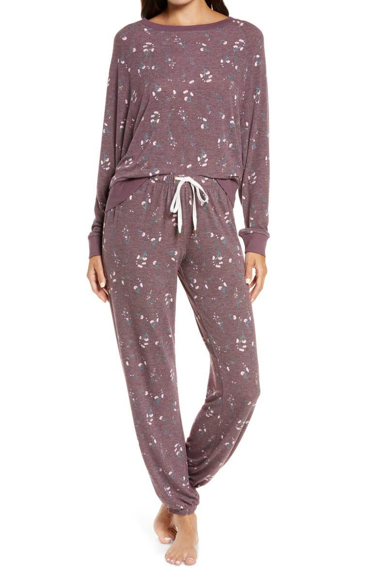 HONEYDEW INTIMATES Star Seeker Brushed Jersey Pajamas, Main, color, WILD BERRY FLORAL