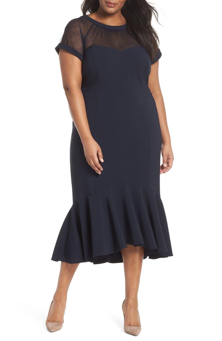 MAGGY LONDON Illusion Yoke Ruffle Hem Midi Dress, Main, color, 402