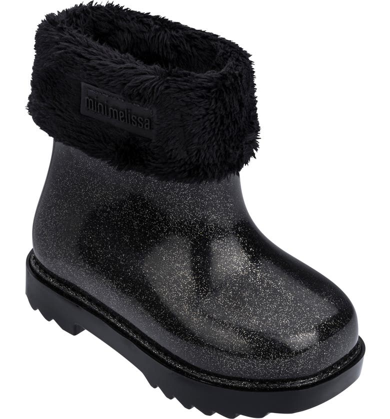 MINI MELISSA Glitter Water Resistant Rain Bootie, Main, color, BLACK