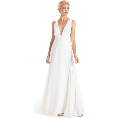 Joanna August Jagger Plunging Wrap Dress, White (Nordstrom Exclusive)