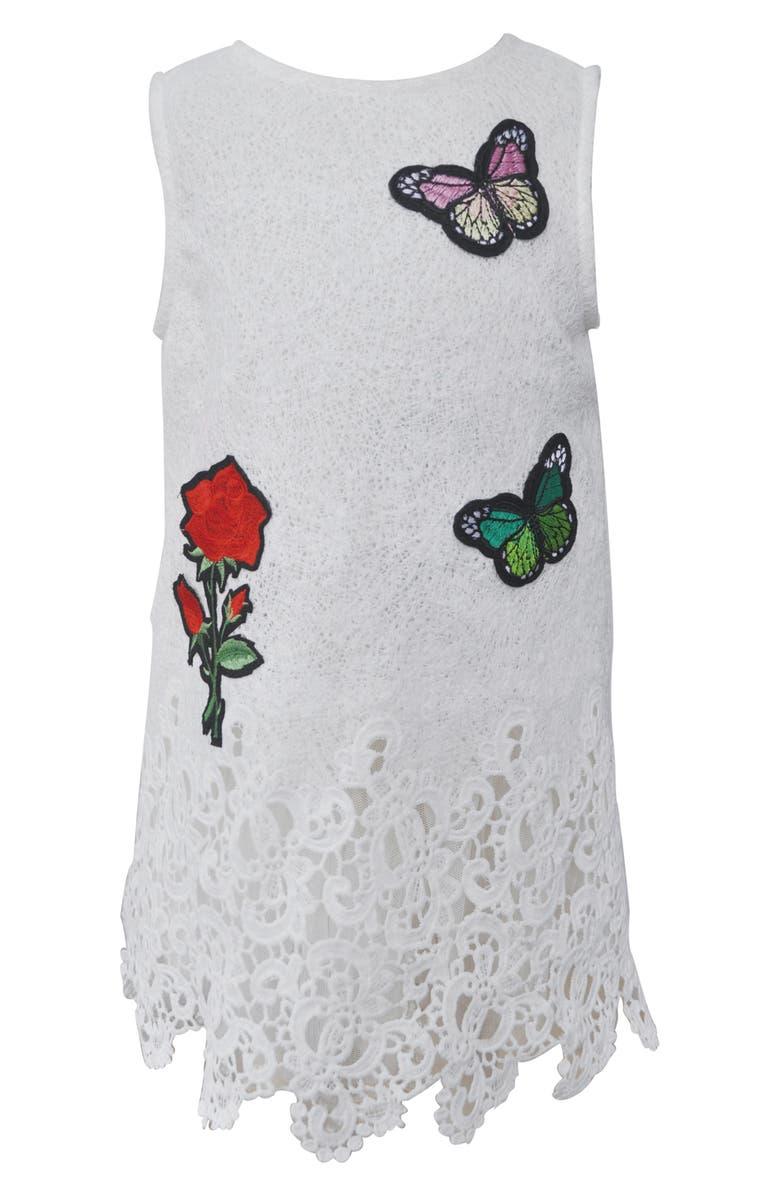 POPATU Flower & Butterfly Appliqué Lace Dress, Main, color, WHITE