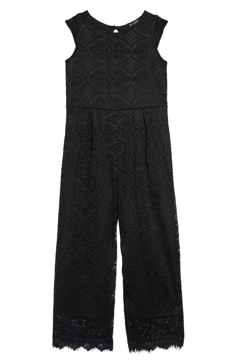 AVA & YELLY Eyelash Lace Jumpsuit, Main, color, BLACK