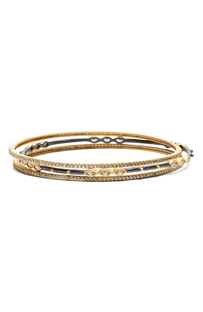 FREIDA ROTHMAN Encrusted Bangles, Main, color, GOLD/ GUNMETAL/ CLEAR