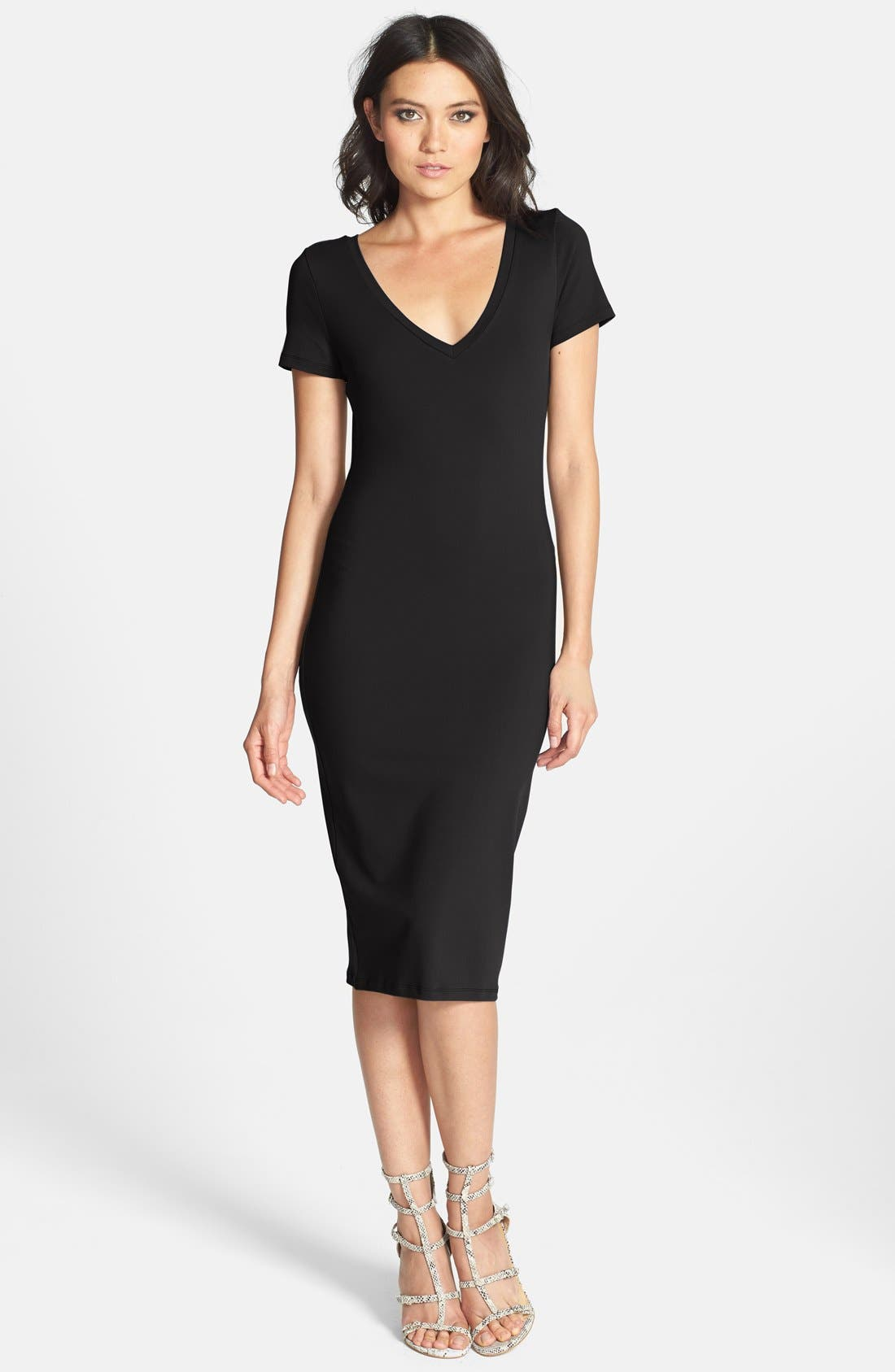 ,                             V-Neck Body-Con Dress,                             Main thumbnail 1, color,                             001