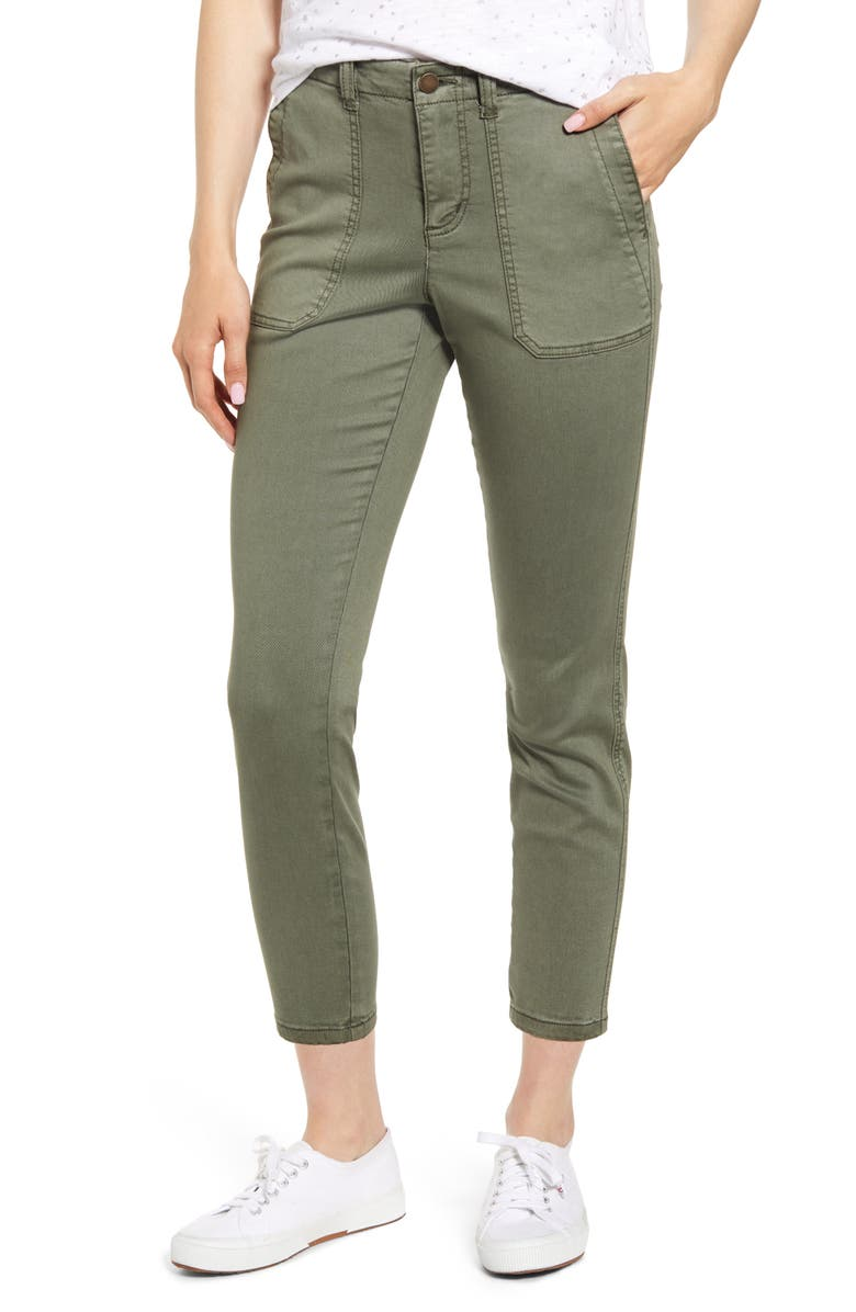 CASLON<SUP>®</SUP> Crop Utility Pants, Main, color, GREEN BEETLE
