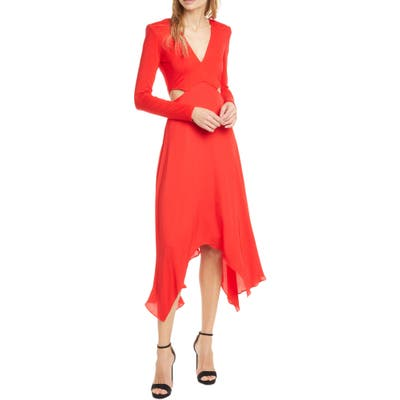 Alice + Olivia Temika Cutout Waist Long Sleeve Dress, Red