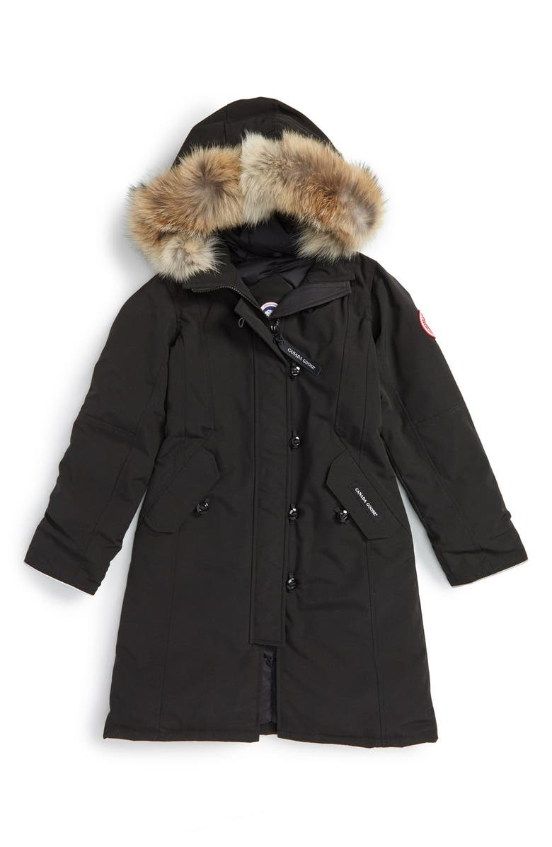CANADA GOOSE 'Brittania' Down Parka with Genuine Coyote Fur Trim, Main, color, BLACK