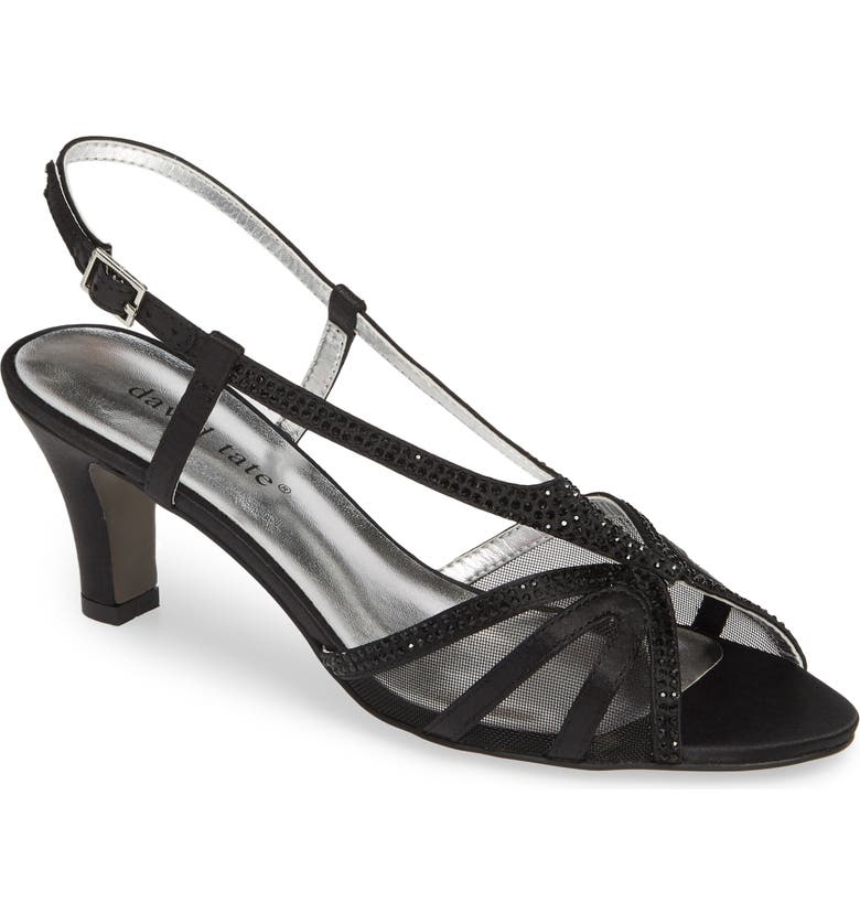 DAVID TATE Refined Sandal, Main, color, BLACK SATIN