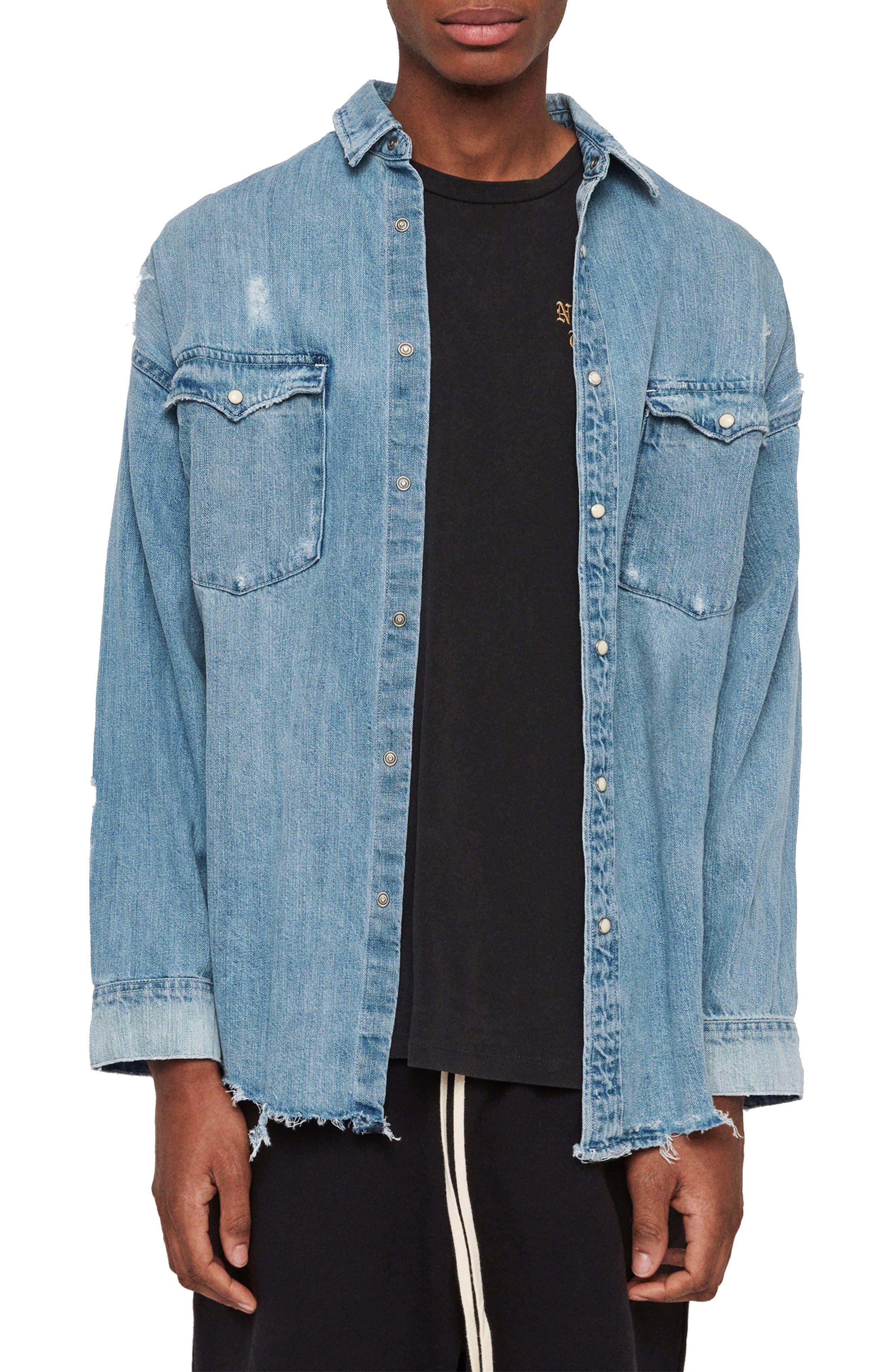 Intor Oversize Denim Shirt, Main, color, INDIGO BLUE