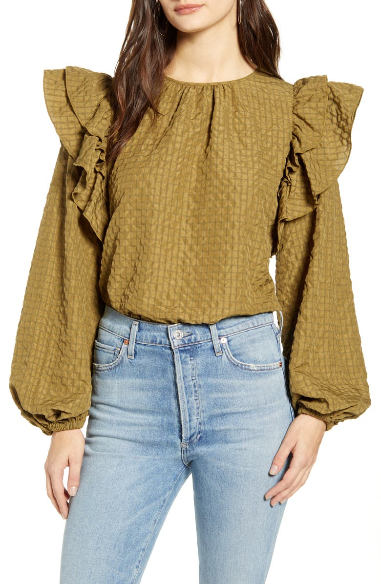 VERO MODA Mindy Frill Long Sleeve Top, Main, color, MILITARY OLIVE