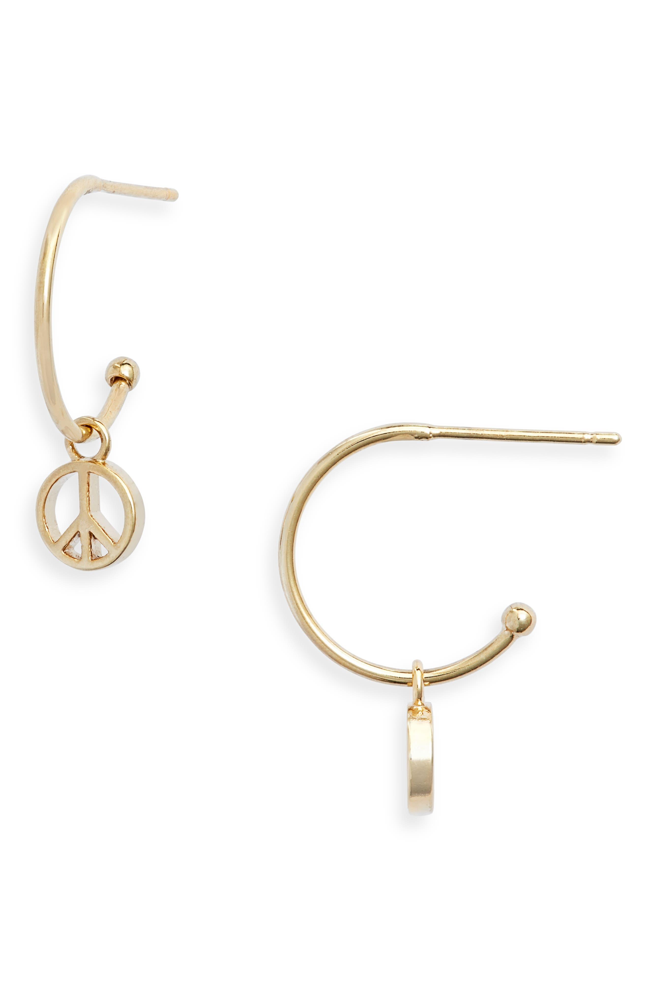 Peace Drop Hoop Earrings