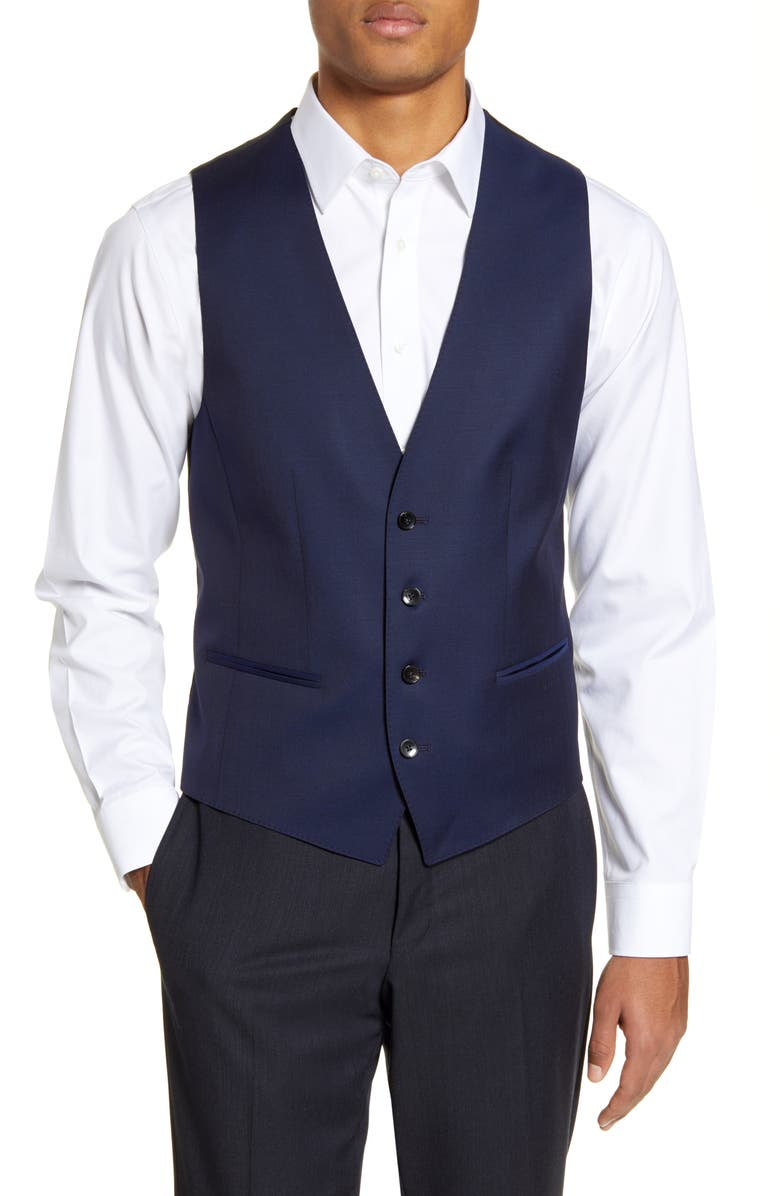 BOSS Huge/Weste Solid Wool Vest, Main, color, NAVY
