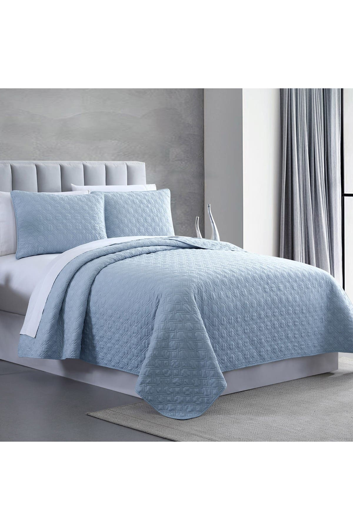 Image of Modern Threads Queen Enzyme Washed Diamond Link Quilted Coverlet 3-Piece Set - Blue
