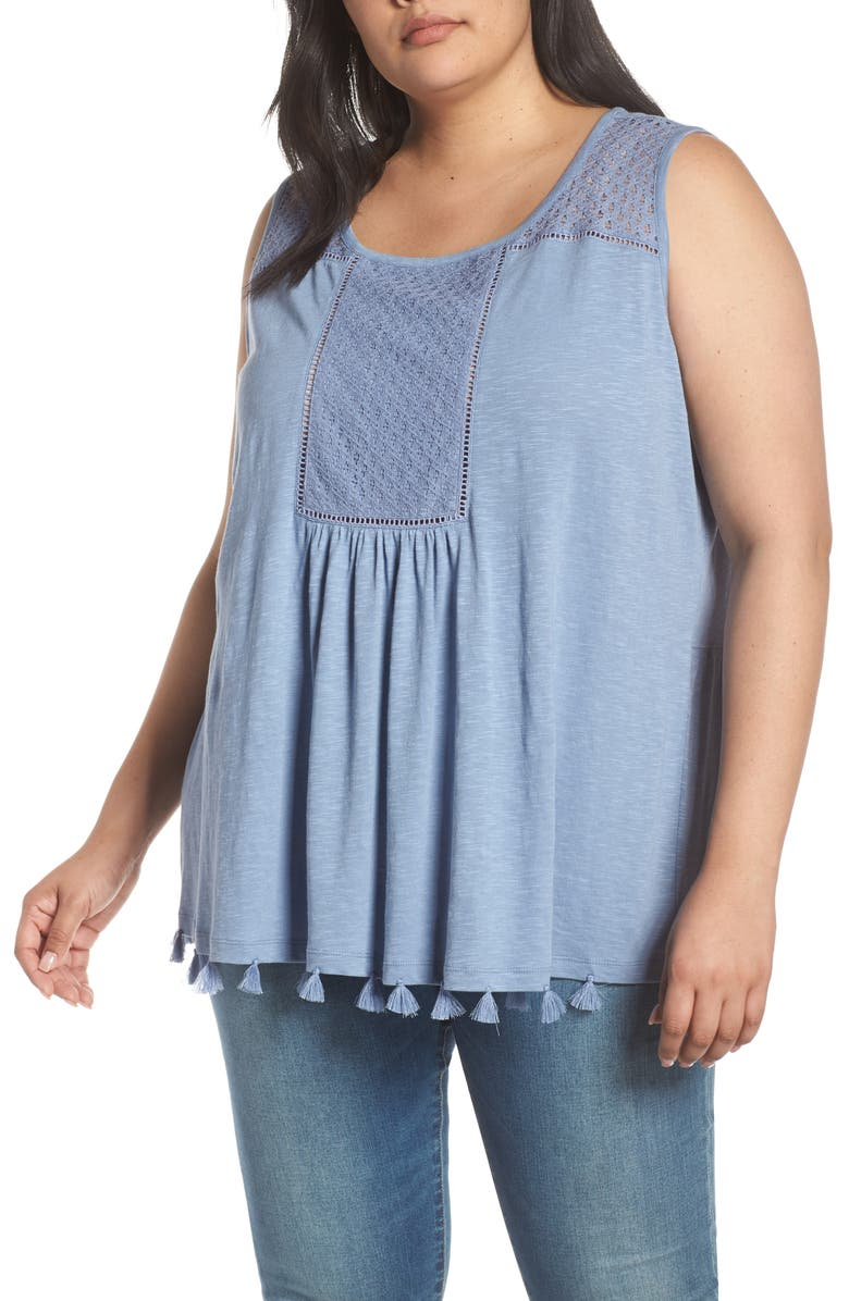 CASLON<SUP>®</SUP> Tassel Trim Embroidered Tank, Main, color, BLUE STONEWASH