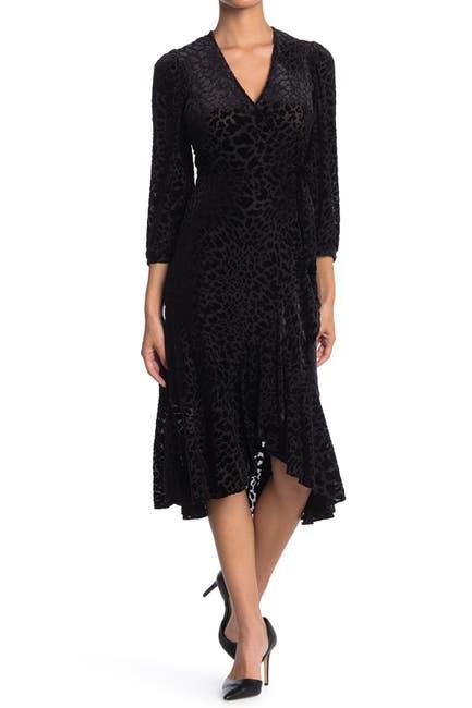 Image of Calvin Klein Burnout Velvet Midi Wrap Dress