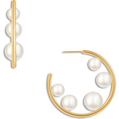 Ellie Vail Elisa Imitation Pearl Hoop Earrings