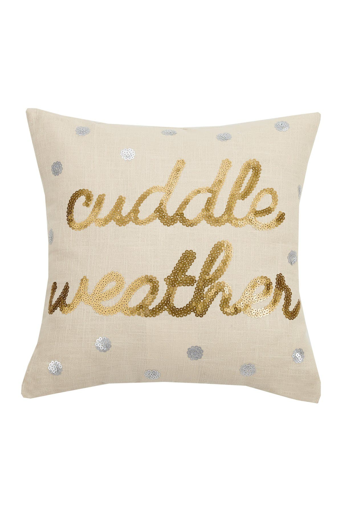 Image of Peking Handicraft Gold/Cream Cuddle Sequins Pillow