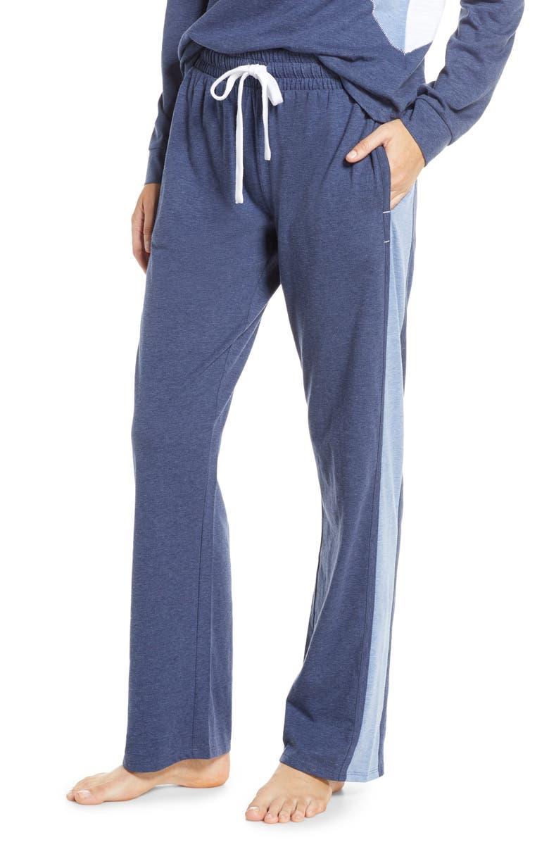 SPLENDID Colorblock Stripe Pajama Pants, Main, color, DK DENIM INDIGO