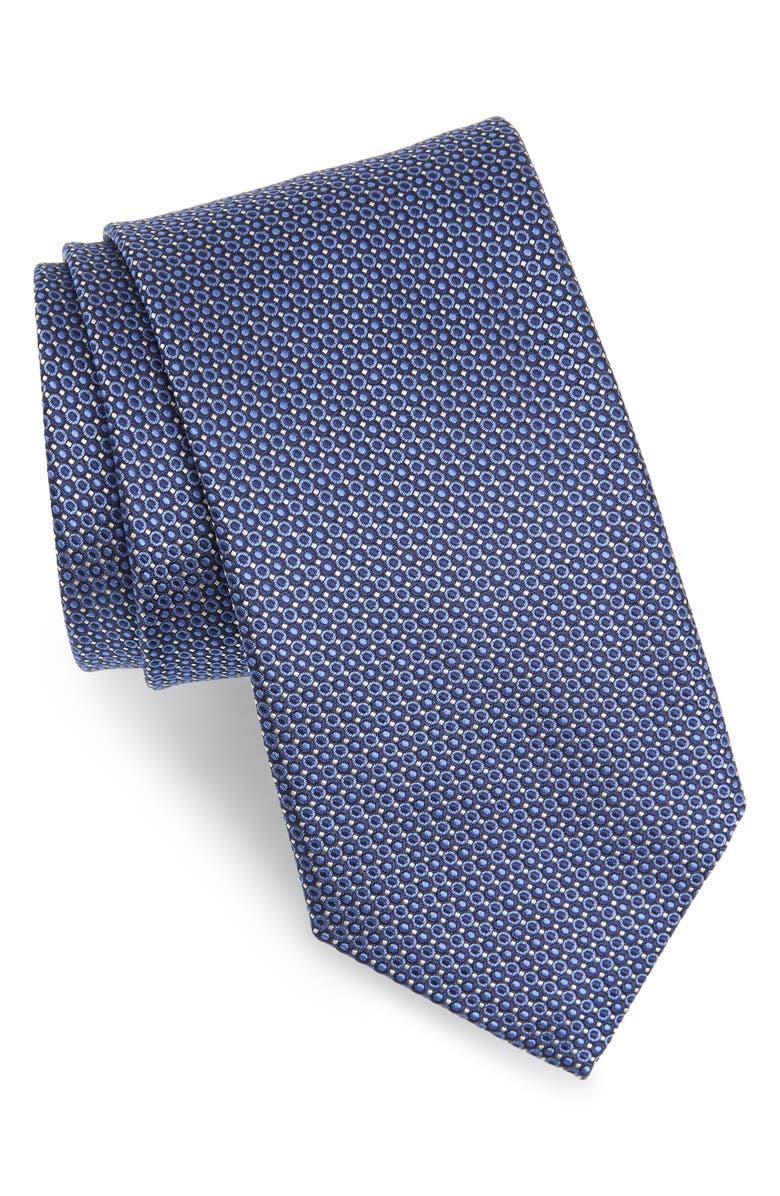 CANALI Geometric Silk Tie, Main, color, BLUE