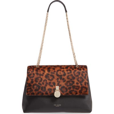 Ted Baker London Cliarra Leopard Print Genuine Calf Hair & Leather Shoulder Bag - Black
