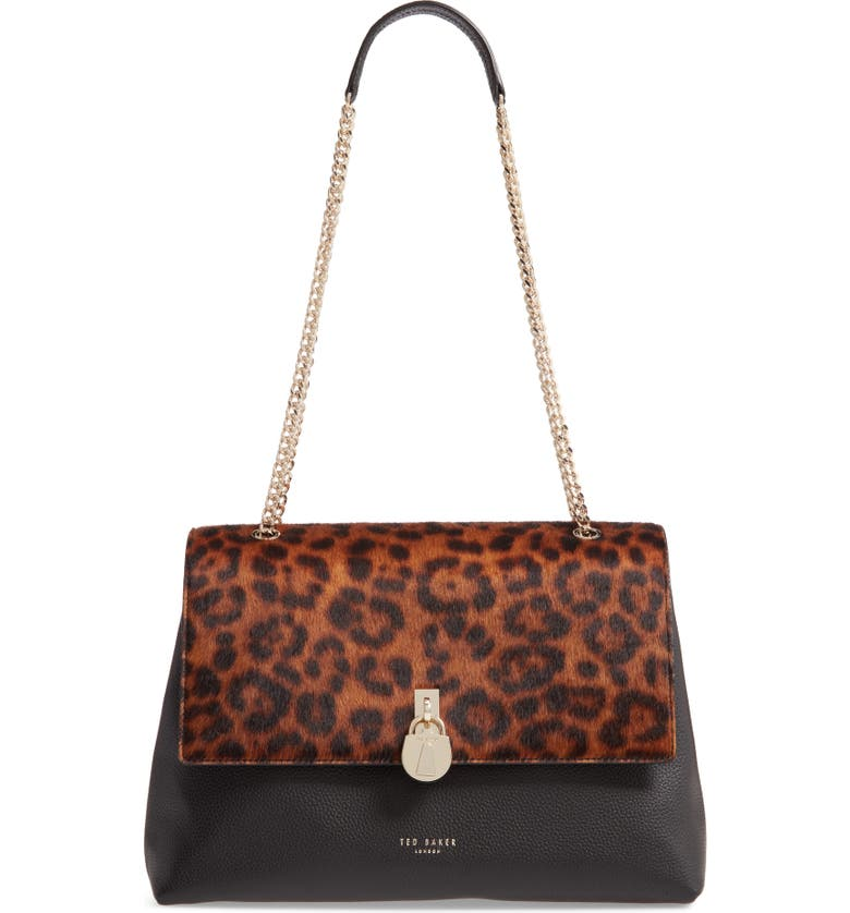 TED BAKER LONDON Cliarra Leopard Print Genuine Calf Hair & Leather Shoulder Bag, Main, color, BLACK