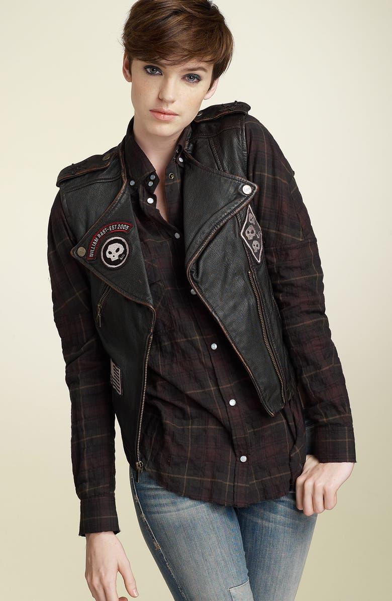 WILLIAM RAST Leather Biker Vest, Main, color, 001