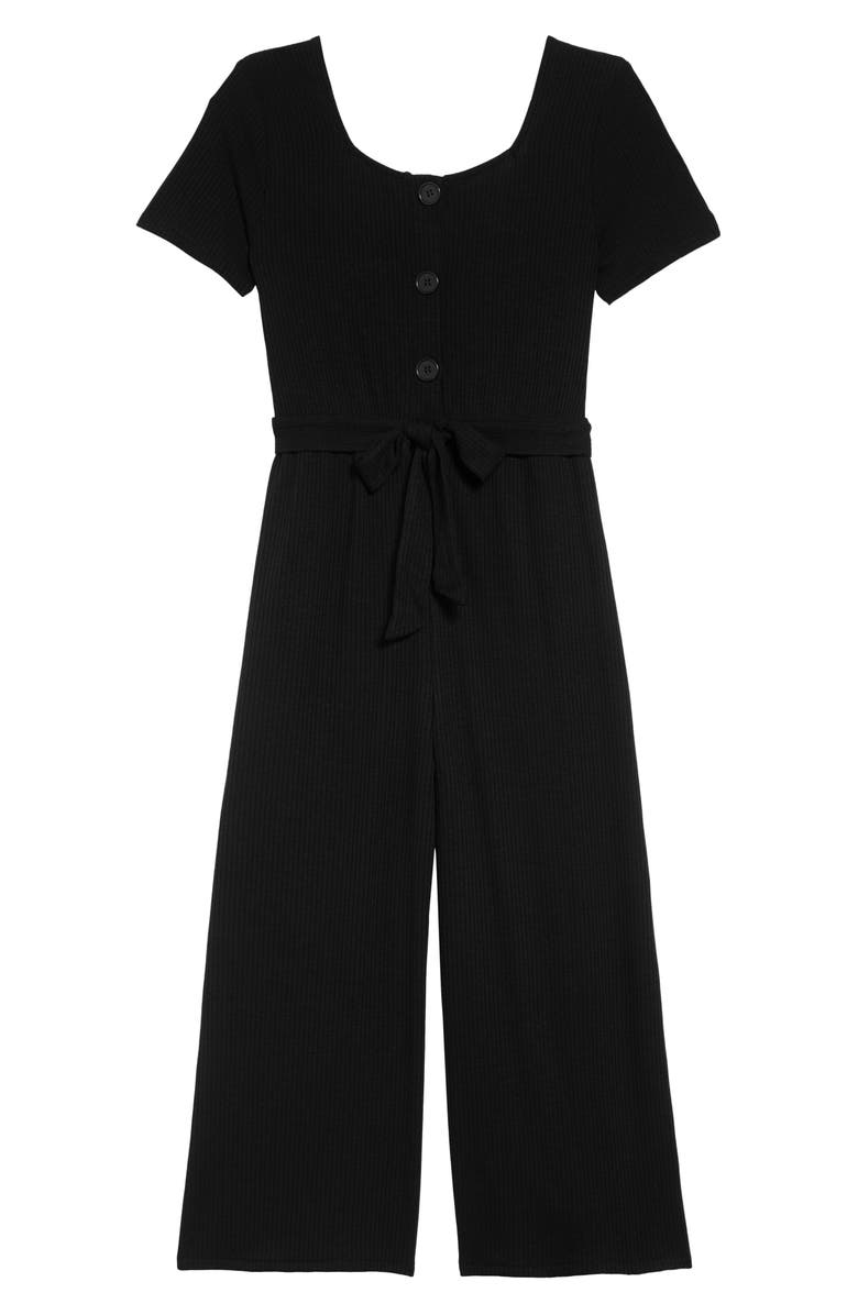 LOVE, FIRE Crop Rib Jumpsuit, Main, color, BLACK