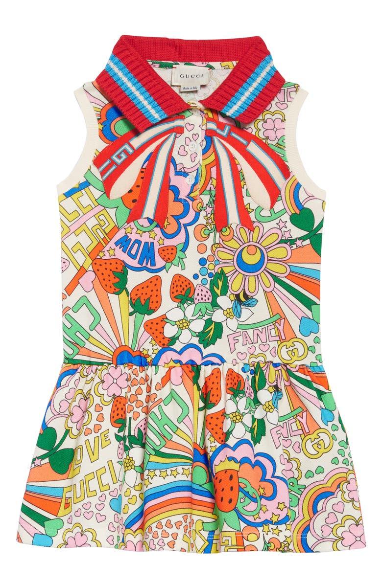 GUCCI Striped Bow Dress, Main, color, IVORY/ MULTICOLOR