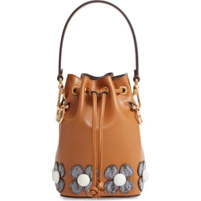 Fendi Mon Tresor Embellished Leather Bucket Bag - Brown