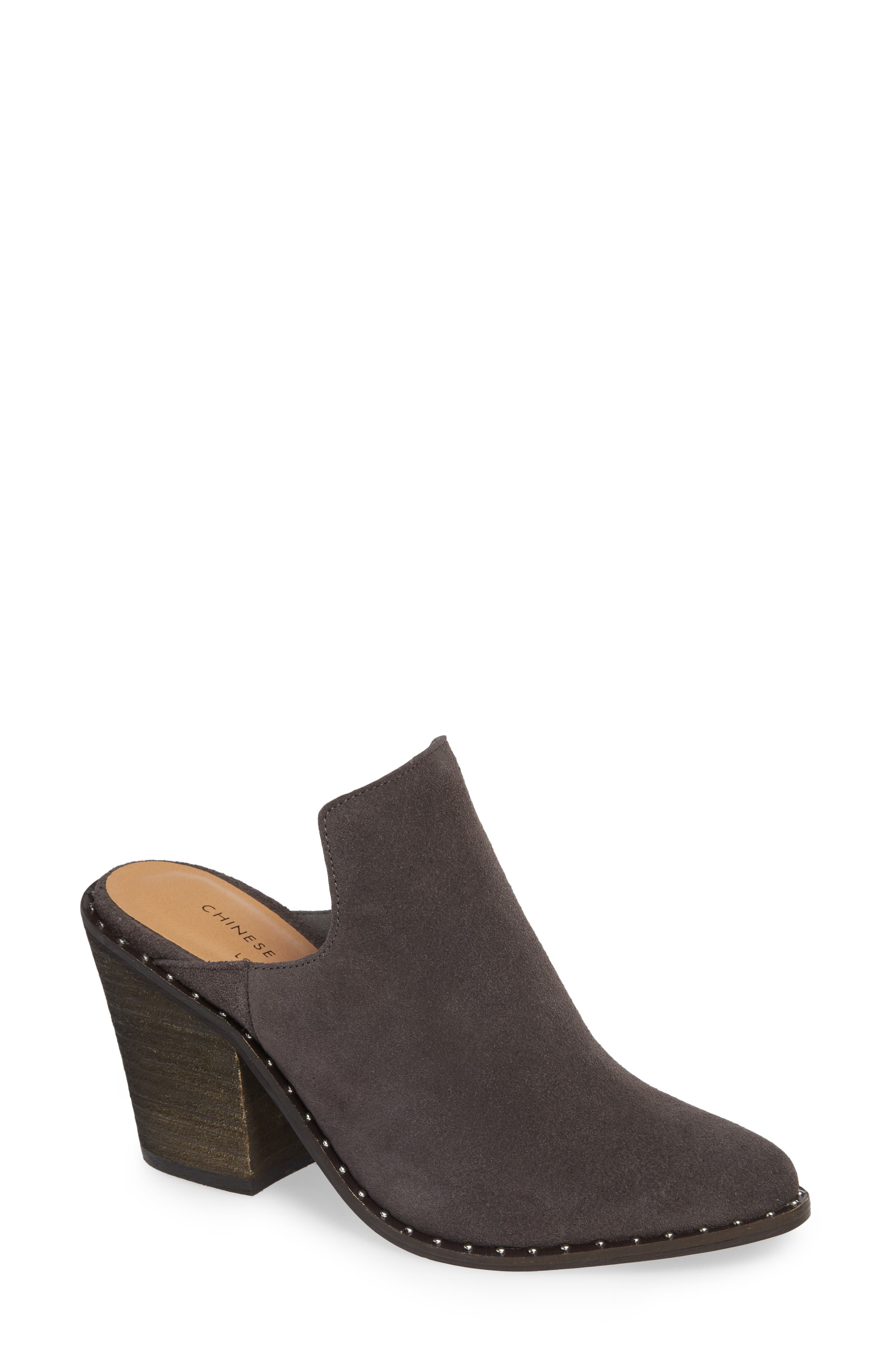Springfield Mule Bootie, Main, color, CHARCOAL SUEDE