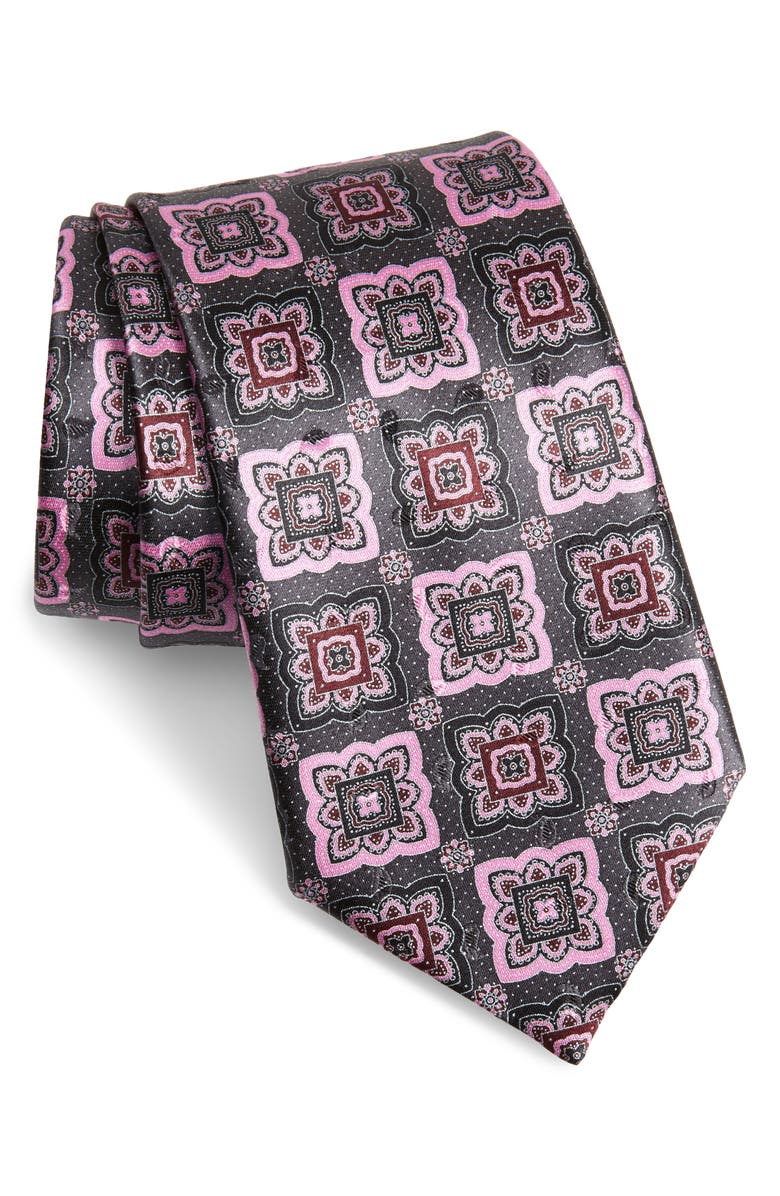ERMENEGILDO ZEGNA Medallion Silk Tie, Main, color, GREY FAN