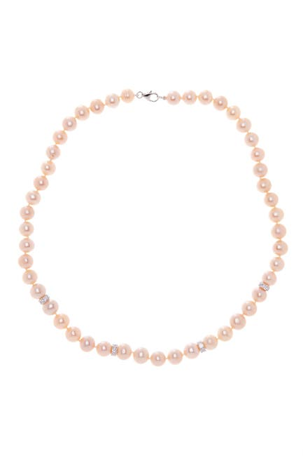 Image of Splendid Pearls 9-10mm Natural Pink Freshwater Pearl & CZ Necklace