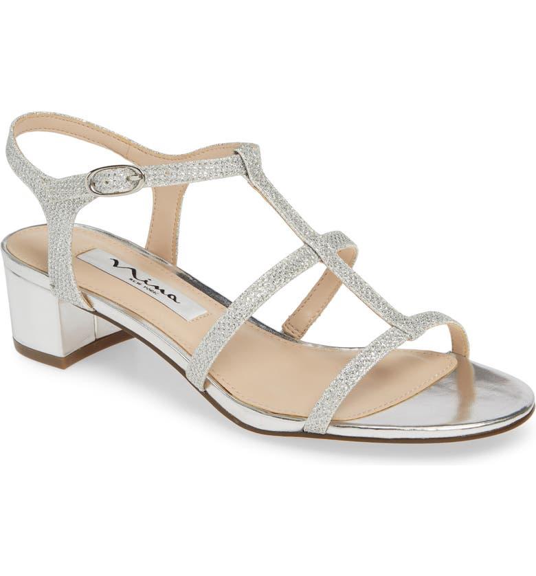 NINA Gelisa T-Strap Sandal, Main, color, SILVER FABRIC