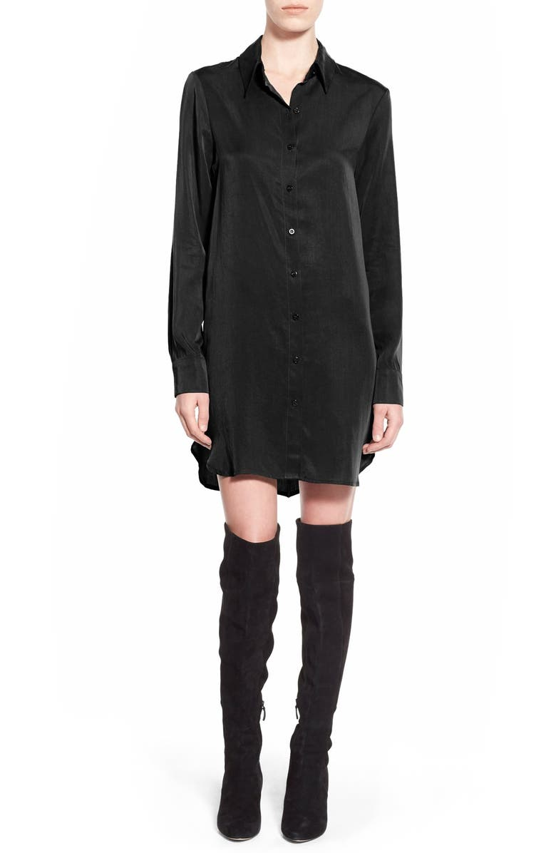WAYF Button Front Shirtdress, Main, color, 001