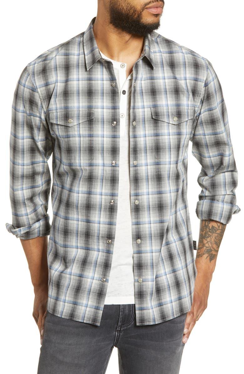 JOHN VARVATOS STAR USA Dale Regular Fit Plaid Snap-Up Western Shirt, Main, color, PEACOCK BLUE