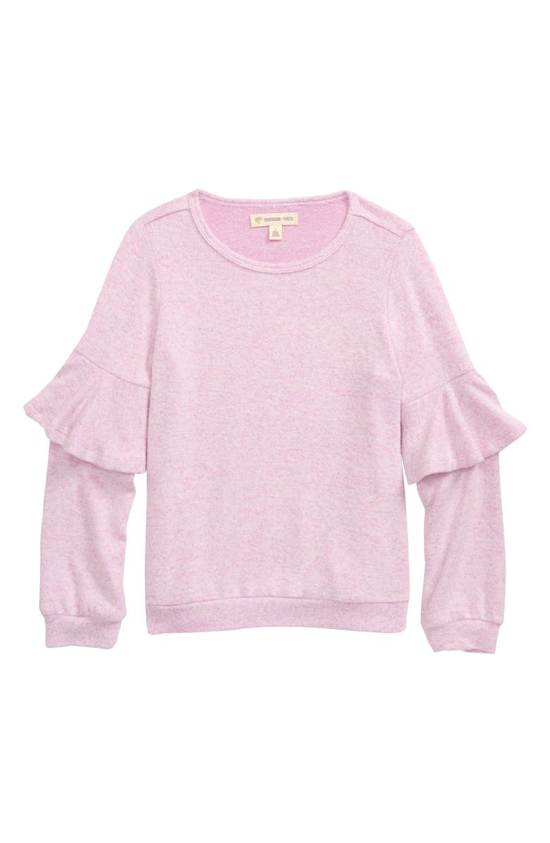 TUCKER + TATE Leopard Print Ruffle Sleeve Pullover, Main, color, PINK LAVENDER HEATHER