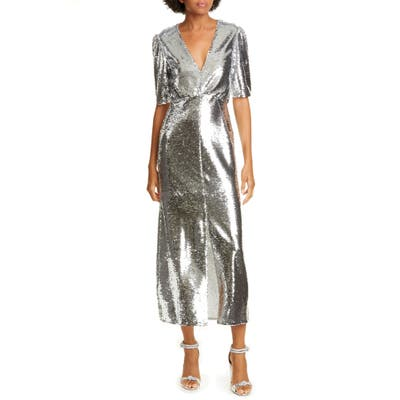 Saloni Eden Sequin Silk Midi Dress, Metallic