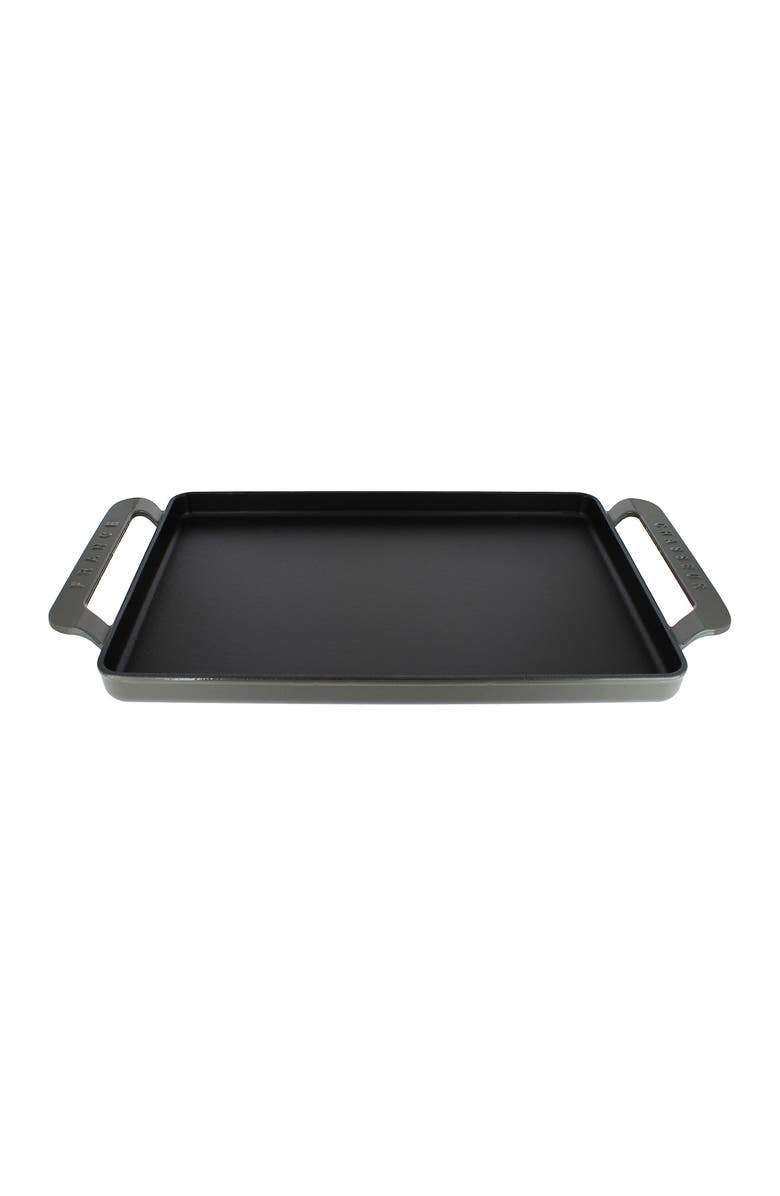 """CHASSEUR 14"""" Caviar Grey Rectangular French Enameled Cast Iron Griddle, Main, color, CAVIAR GREY"""