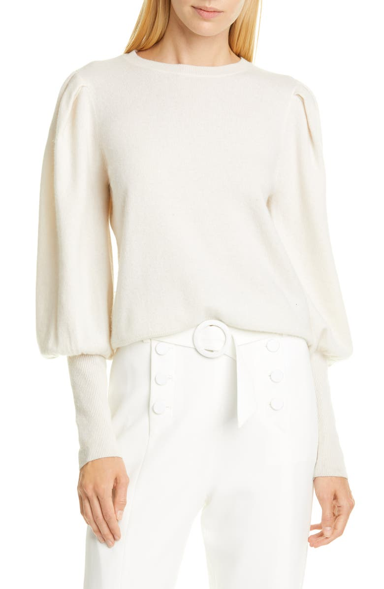 JONATHAN SIMKHAI Puff Sleeve Cashmere Sweater, Main, color, WHITE