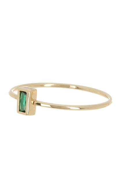 Image of Argento Vivo 18K Gold Plated Sterling Silver Green Crystal Ring - Size 7