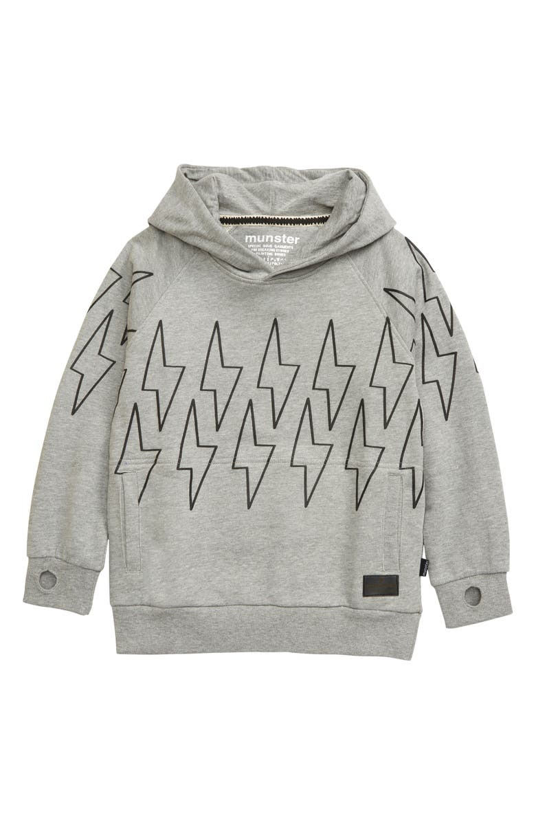 MUNSTERKIDS Charger Hoodie, Main, color, GREY MARLE