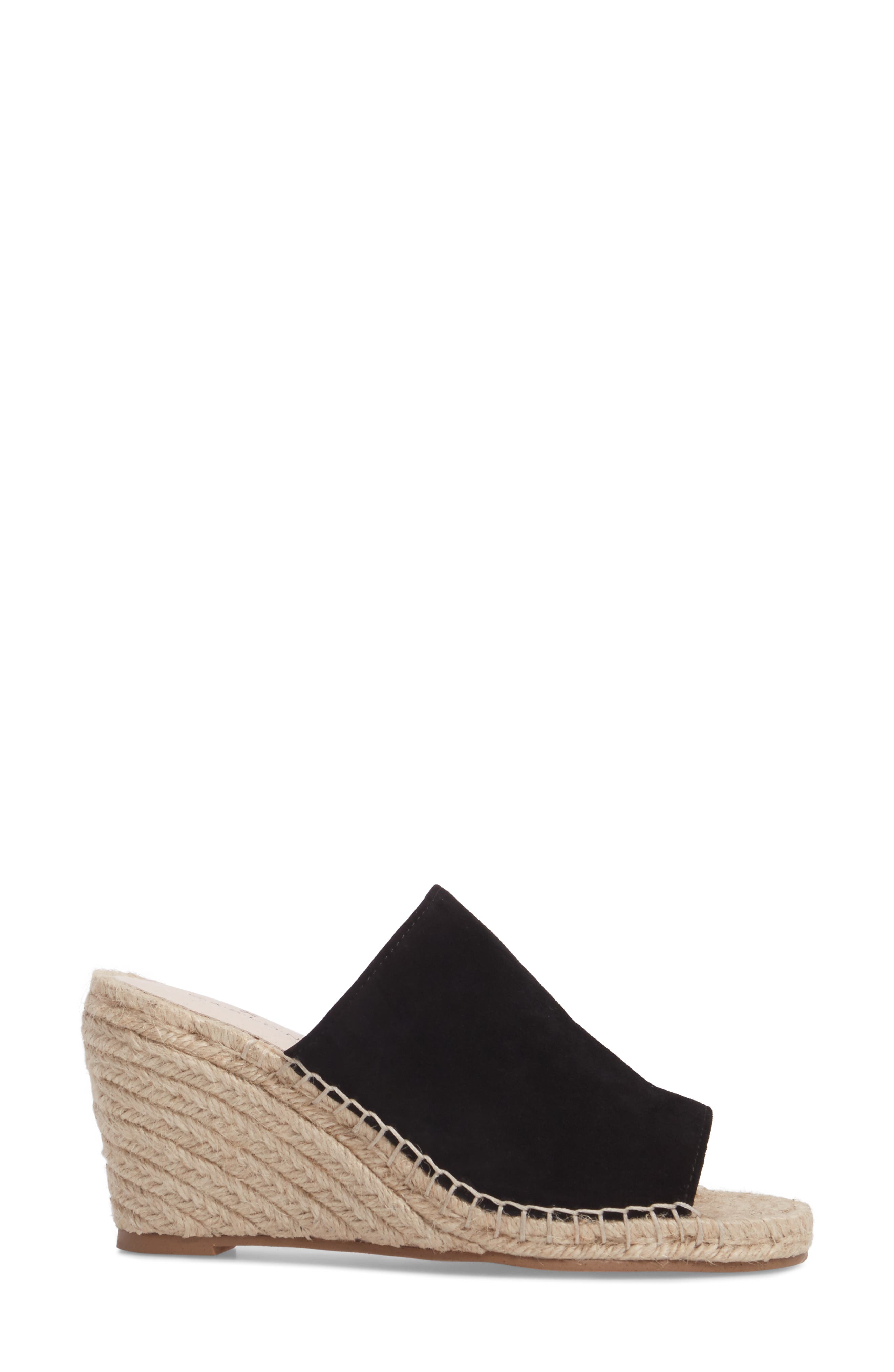 ,                             Sally Wedge Sandal,                             Alternate thumbnail 3, color,                             BLACK SUEDE