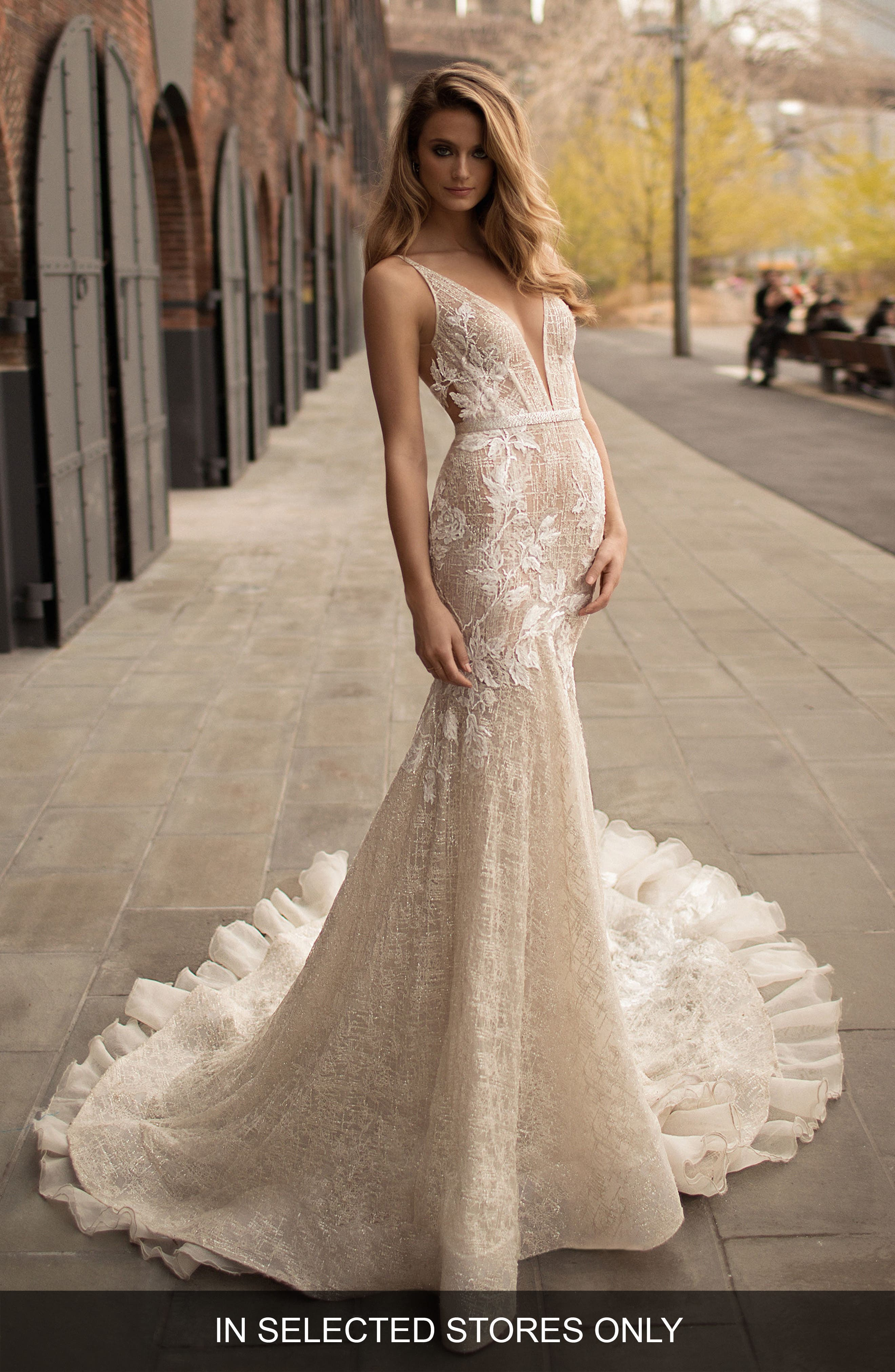 Berta Deep V-Neck Fit & Flare Gown, Ivory