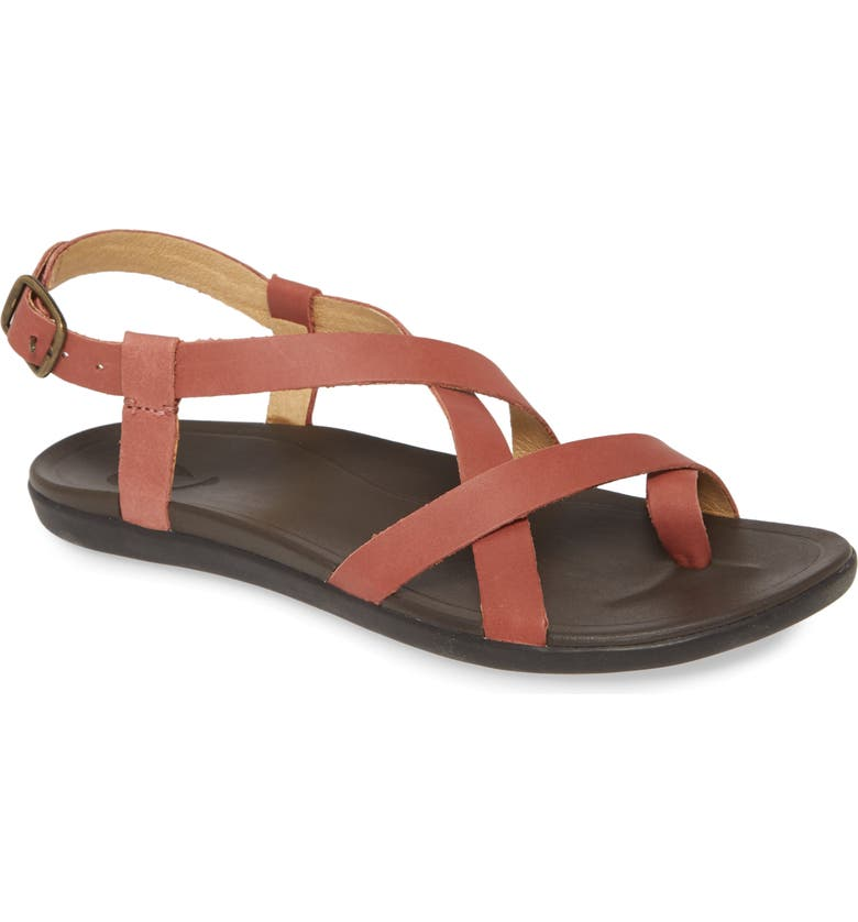 OLUKAI 'Upena' Flat Sandal, Main, color, CEDAR WOOD LEATHER
