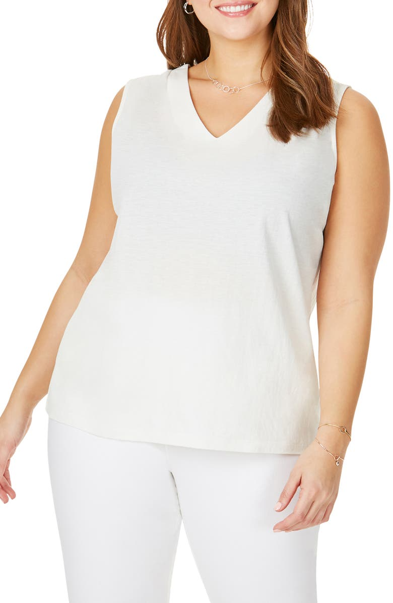 FOXCROFT Button Back Sleeveless Top, Main, color, WHITE