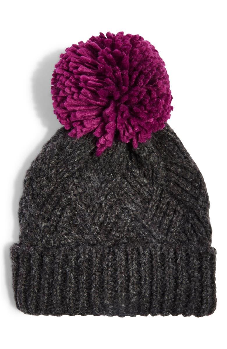 TOPSHOP Chevron Knit Beanie Hat, Main, color, PURPLE MULTI