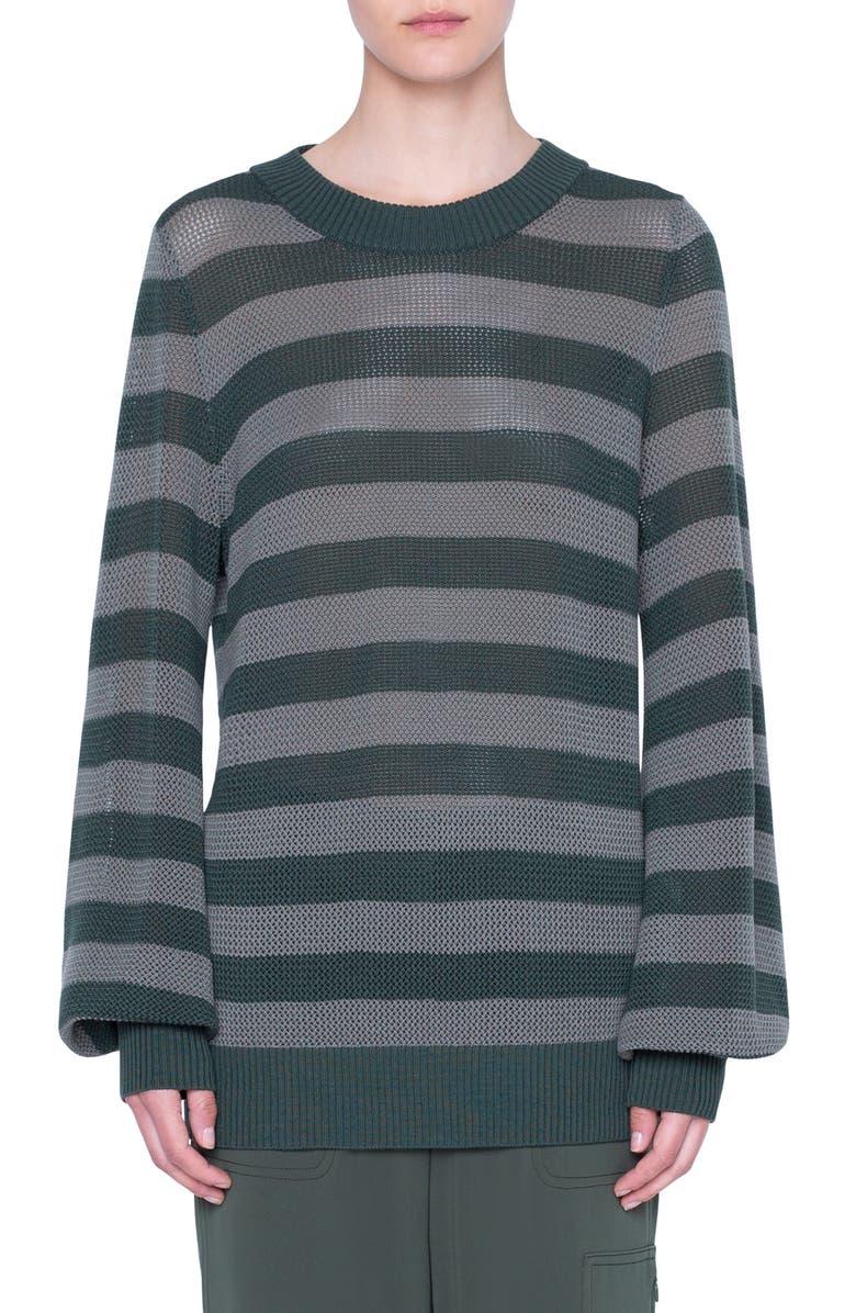 AKRIS PUNTO Colorblock Wool Turtleneck Sweater, Main, color, YUCCA-AGAVE