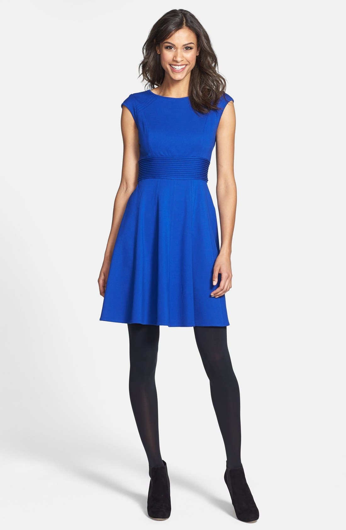 ,                             Pintucked Waist Seamed Ponte Knit Fit & Flare Dress,                             Alternate thumbnail 24, color,                             430