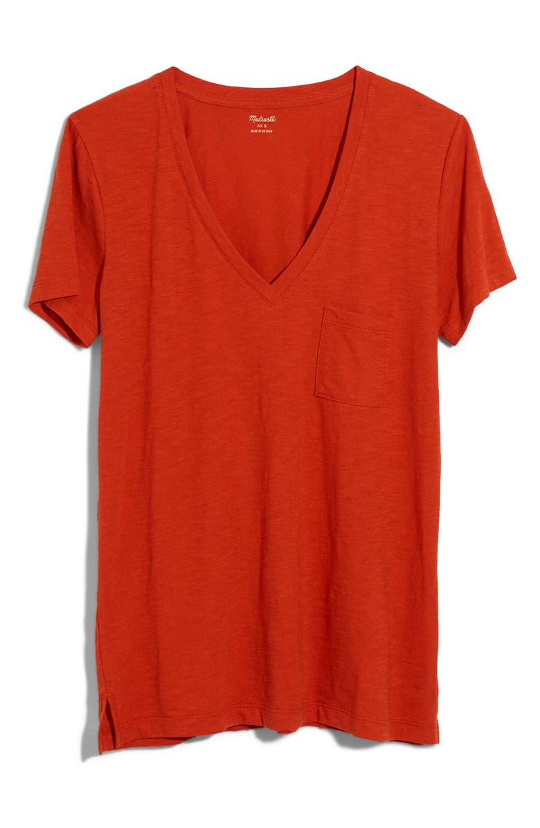 MADEWELL Whisper Cotton V-Neck Pocket Tee, Main, color, SPICED CINNAMON